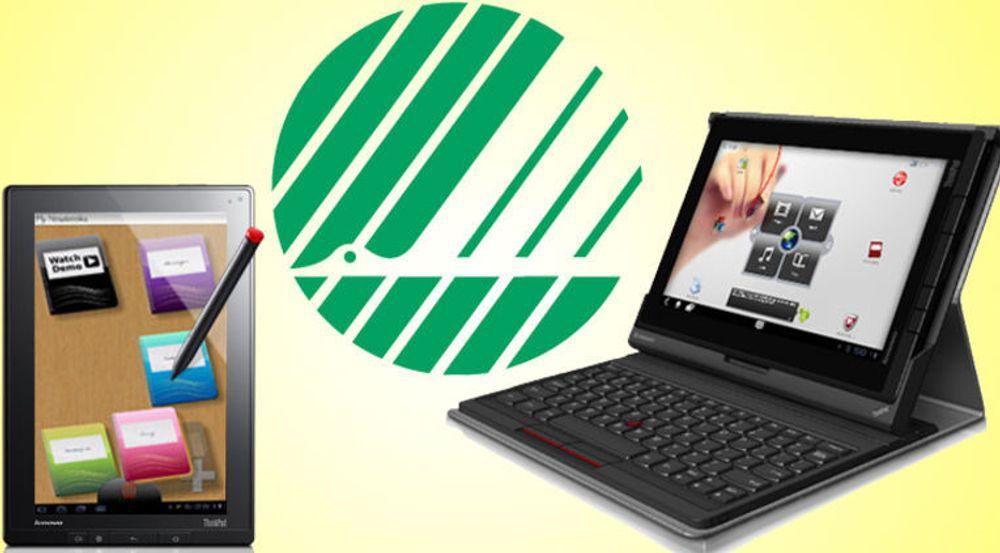 Lenovo Thinkpad Tablet er et Android-brett for bedriftsmarkedet. Til venstre vises den forhåndsinstallerte applikasjonen MyScript Notes, der man kan ta notater for hånd med lyspennen. Tastaturet er ekstrautstyr.