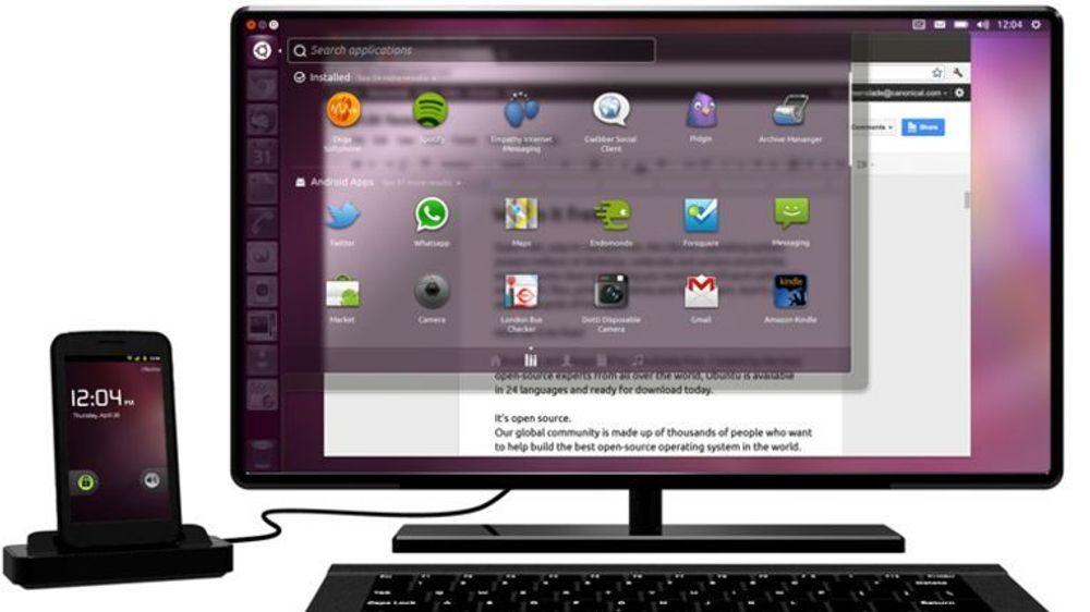 Ubuntu for Android-basert smartmobil kjører Ubuntu i tillegg når den er tilkoblet skjerm, tastatur og mus via en dokk.