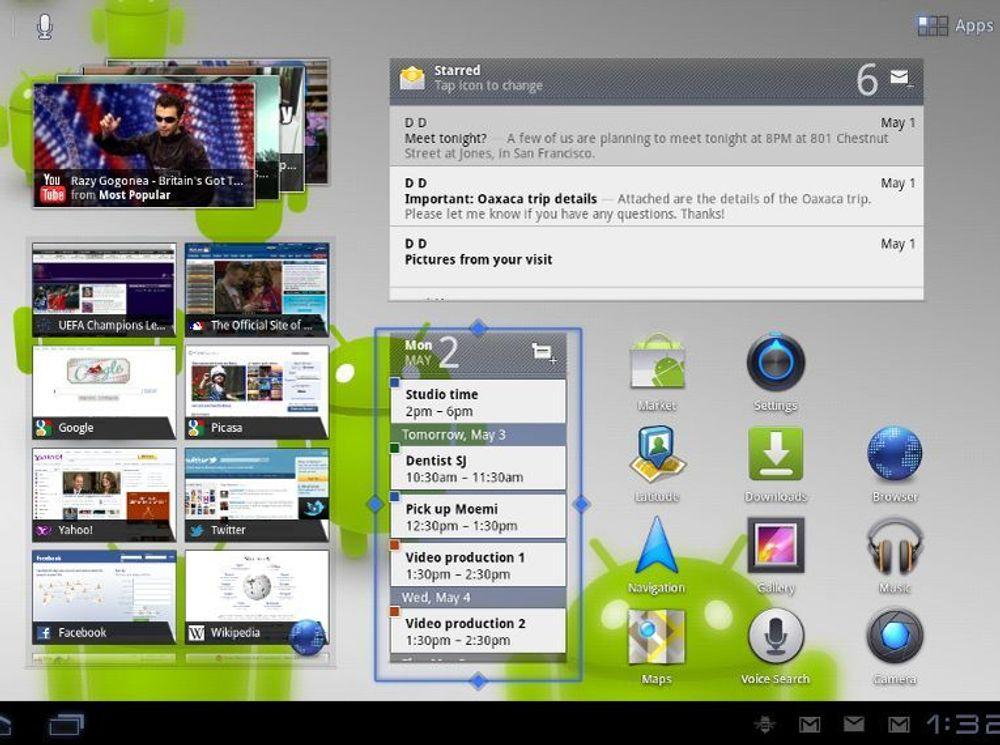 Utsnitt av hjemmeskjermen i Android 3.1