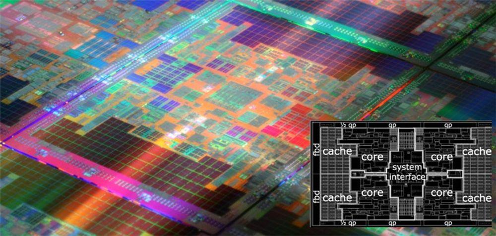 Nærbilde av silisiumskive med flere Tukwila-prosessorer. Farvene er kunstige. Den innfelte skissen viser områdene for hver av de fire kjernene, samt cache og systemgrensesnitt.