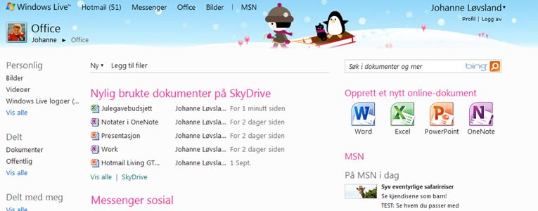 Klikker man på Office-fanen i Windows Live får man en side som denne. SkyDrive er Microsofts tjeneste for personlig lagring i nettskyen.