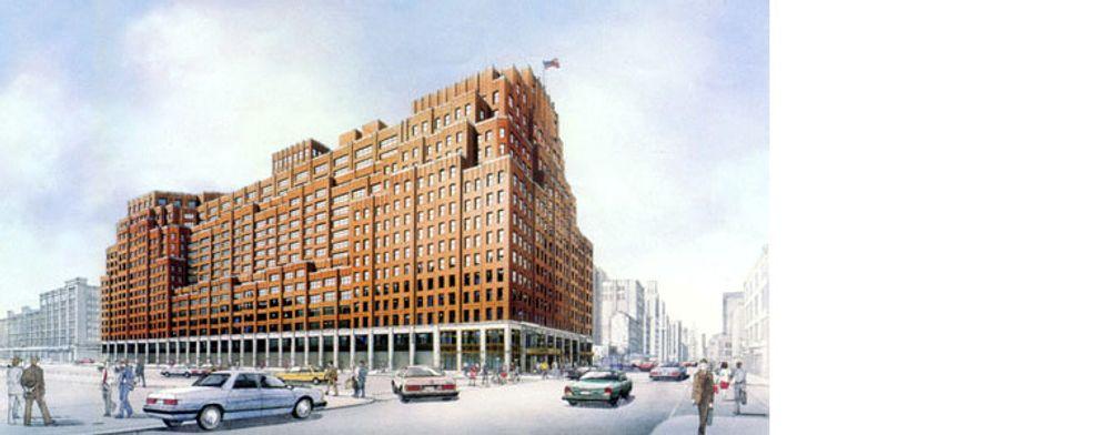 Google kjøper dette bygget sør på Manhattan for rundt 1,8 milliarder dollar. Bildet er hentet fra nettstedet til Kilroy Architectural Windows, som i 1988 byttet ut over 3600 vinduer i bygget.