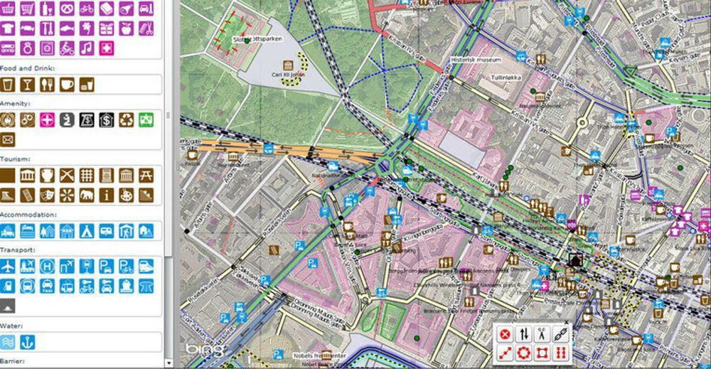 Redigering av OpenStreetMap med verktøyet Potlatch 2 og med flyfoto fra Bing Maps.