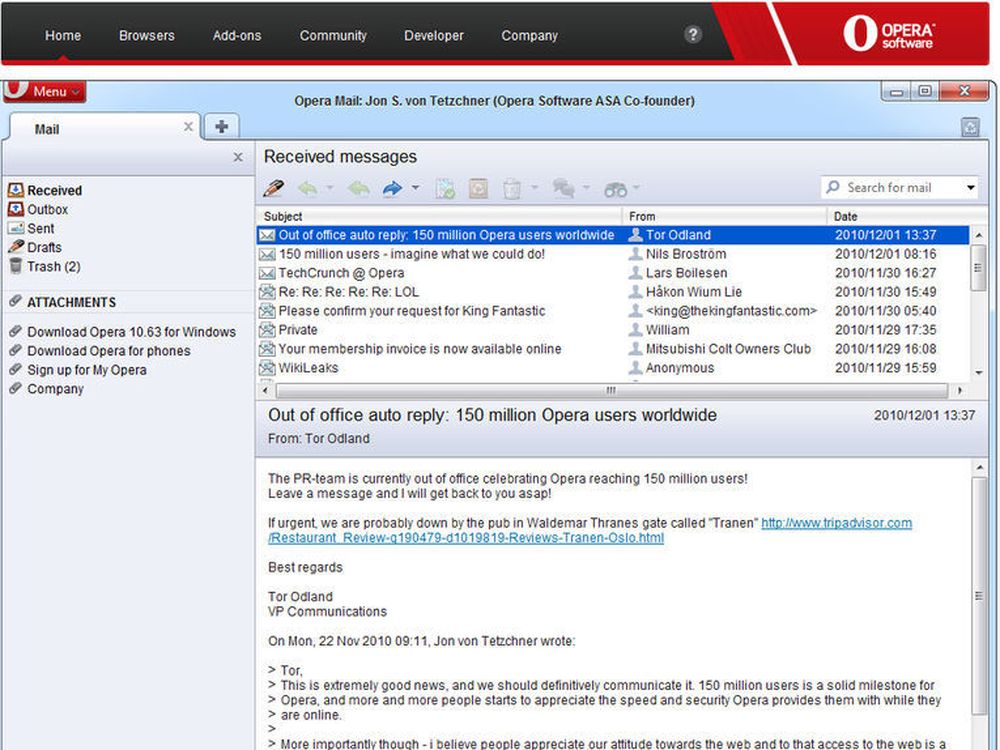 Originalt PR-stunt: På Opera.com kommer du nå rett inn på e-postboksen til Jon von Tetzchner.