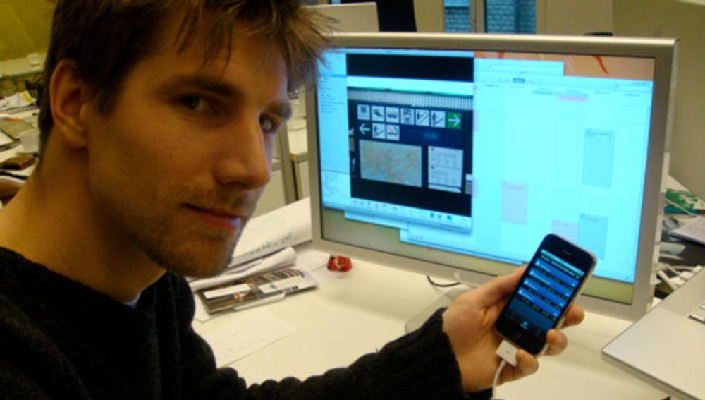 Designer og medgründer John Eivind Hallen i programvareselskapet Shortcut er snart klar med sitt første program til iPhone.