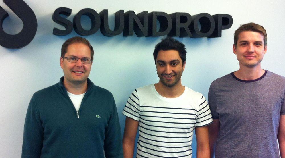 Soundrop henter inn 18 millioner kroner. Fra v. direktør Inge Andre Sandvik, teknologisjef Ali Sabil og produktsjef Johan Prieur. Den fjerde gründeren, utviklingssjef Ole Andre Vadla Ravnås var ikke til stede da bildet ble tatt.