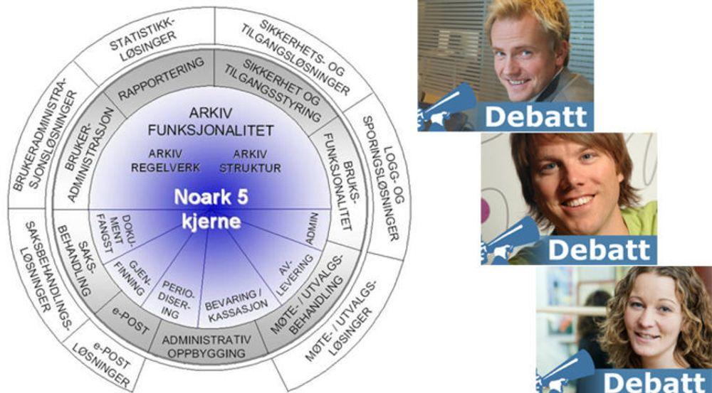Redpill Linpro er i ferd med å utvikle en egen Noark 5-kjerne til Alfresco, et friprogbasert system for innholdsforvaltning. Det har utløst en debatt med deltakere som Halvor Wall i Software Innovation, Martin Bekkelund i Friprogsenteret og Margrethe Gleditsch i Redpill Linpro.