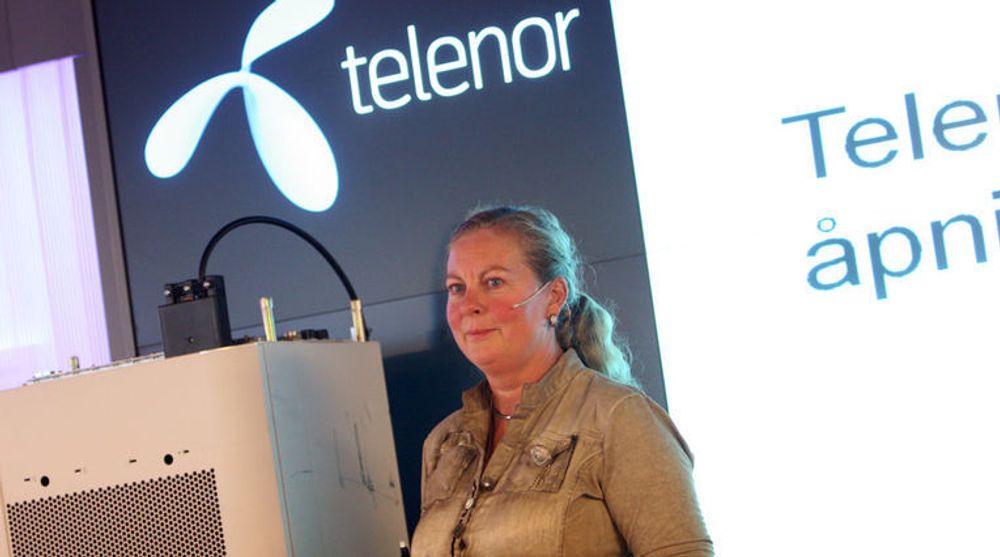 Telenor-direktør Berit Svendsen røpet onsdag at de vil lansere 4G-mobilnett om «noen få uker». Her fra lanseringen av det hun kalte «Europas mest moderne mobilnett» oktober i fjor.