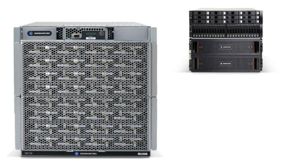 AMD SeaMicro SM15000 med lagringschassis i bakgrunn. Begge har en høyde på 10 U.