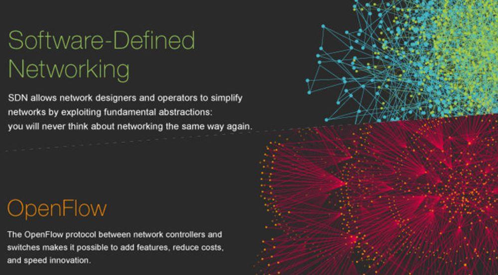 SDN og OpenFlow vil drive fram en ny æra innen nettverk, heter i materiale fra Open Networking Foundation, en stiftelse som samler rubbel og bit innen program- og maskinvare for nettverk. I styret sitter blant annet Facebook og Google og Microsoft. Google er selve pioneren innen både SDN og OpenFlow.