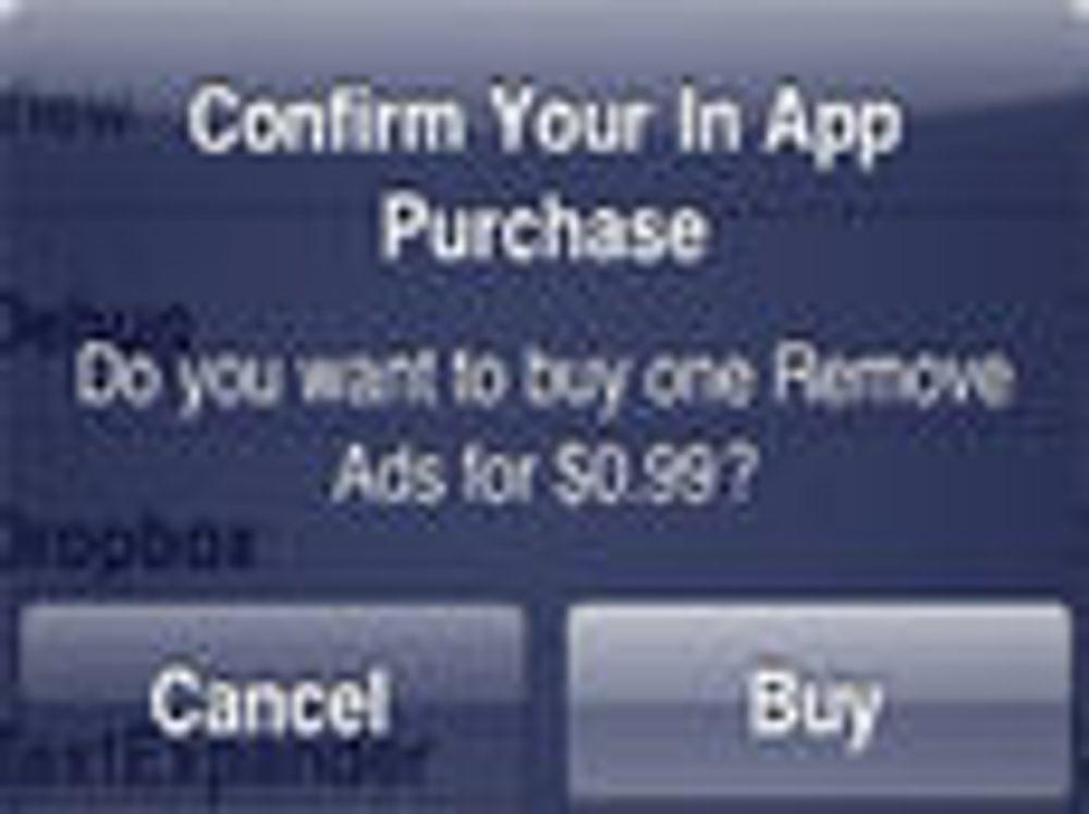 Eksempel på app-funksjon som Lodsys mener krenker deres patenter.