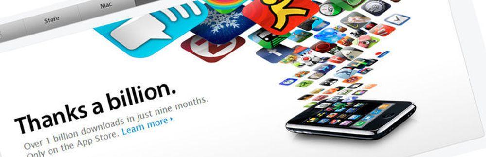 På bare ni måneder har Apples nettløsning formidlet over en milliard programmer til iPhone og iPod Touch.