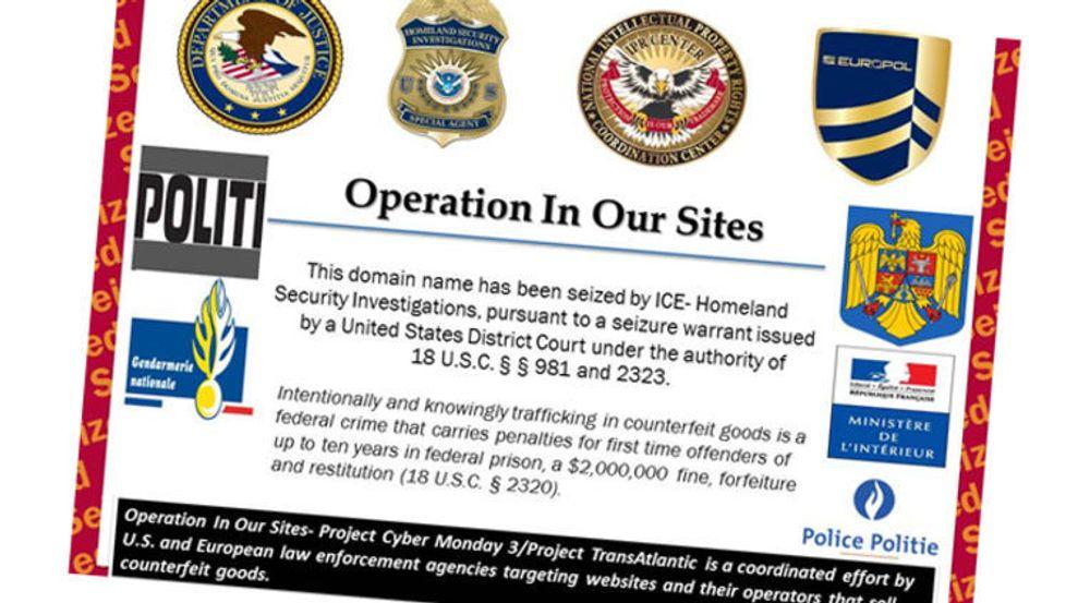 Europol har for første gang deltatt i en større aksjon med inndragning av domenenavn brukt til salg av det som hevdes å være falske merkevareprodukter. Besøk til de berørte nettstedene gir nå denne plakaten.