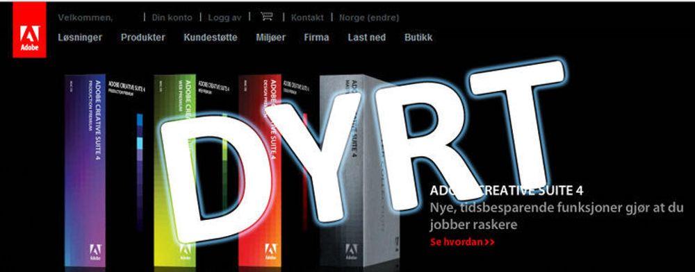 Adobes programvare selges til blodpris i Norge. Du må ut med over dobbelt så mye for nøyaktig samme produkt her til lands, sammenlignet med USA-prisene.