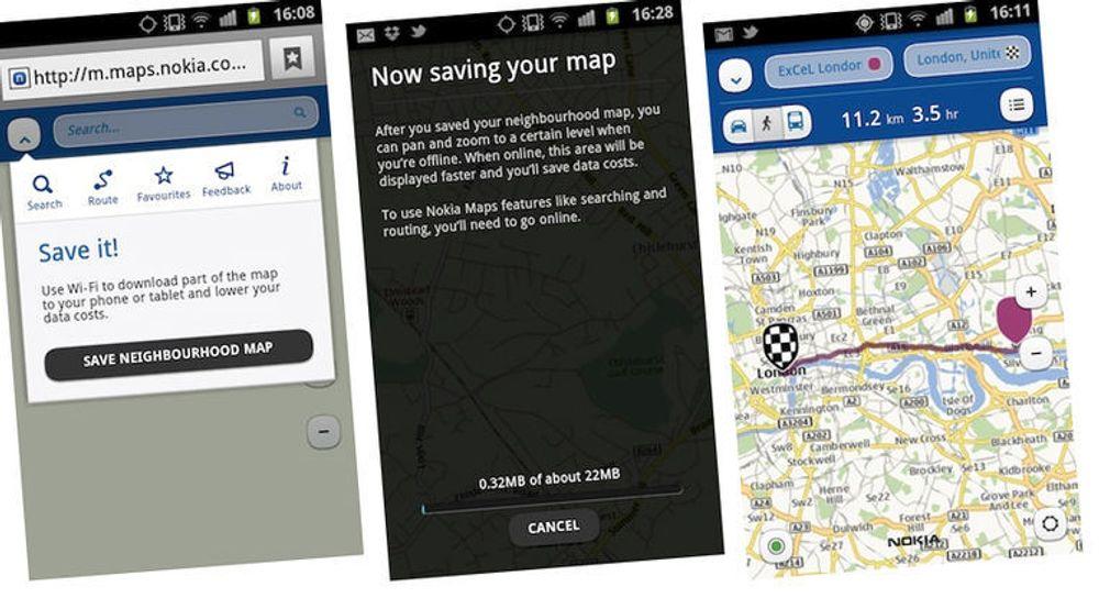 Kartløsningen Nokia Maps tilbyr både HTML5-basert offline-lagring og reiseplanlegger.
