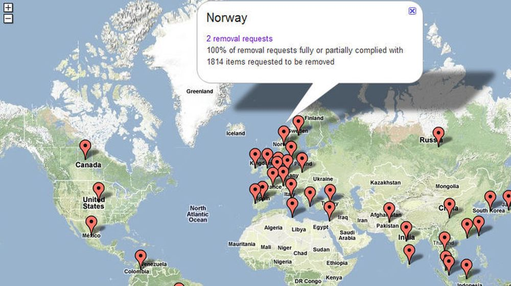 Google tilbyr et interaktivt kart knyttet til selskapets Transparency Report, som gir rask oversikt over ulike lands forespørsler om utlevering eller sletting av data hos selskapet.
