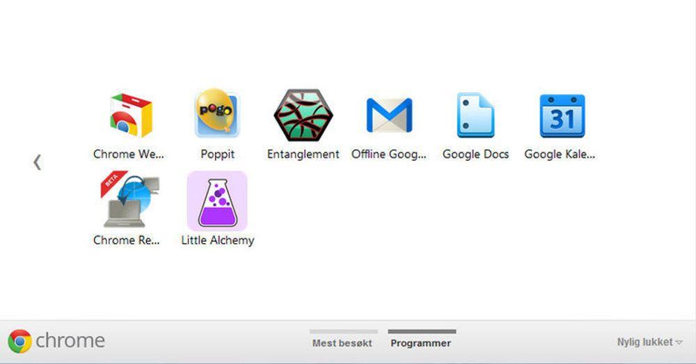 Siden som vises når man åpner en ny fane i Chrome 15. Innholdet avhenger av hva brukeren har installert.