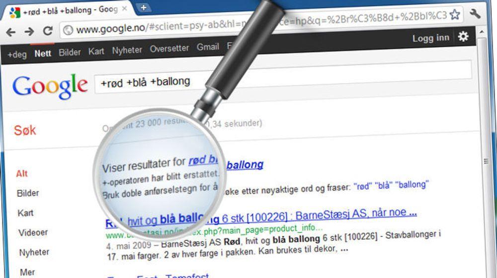 Google hevder at anførselstegn er enklere å bruke enn plusstegn ved avgrensning av søk. Pluss har vært brukt som søkeoperator siden lenge før Google kom på banen.