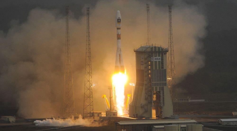 En Sojus VS01-rakett ble i dag skutt opp fra Fransk Guyana for å plassere de to første satellittene i Europas GPS-alternativ Galileo.