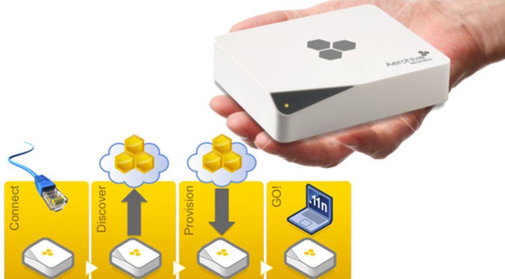Oppskriften for løsningen til Aerohive er særs enkel for de ansatte på lokalkontoret: Aksesspunktet koples til, og alt av oppsett og konfigurering skjer i samspill med Aerohives nettskytjeneste. De ansatte får tjenester som om de arbeidet på hovedkontoret. I praksis er det aksesspunktet som definerer filialen: Det er bare avhengig av å koples til et bredbåndsuttak.