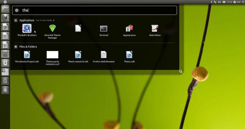 Ubuntu Unity med startfelt og søkefunksjon.