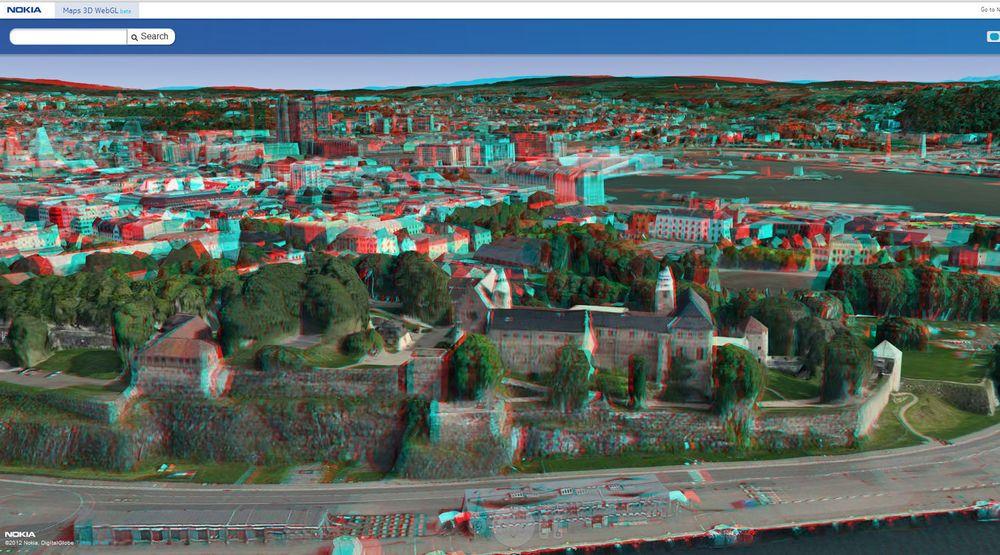 Få på deg 3D-brillene, så ser du lett at dette er Akershus Festning i Oslo.