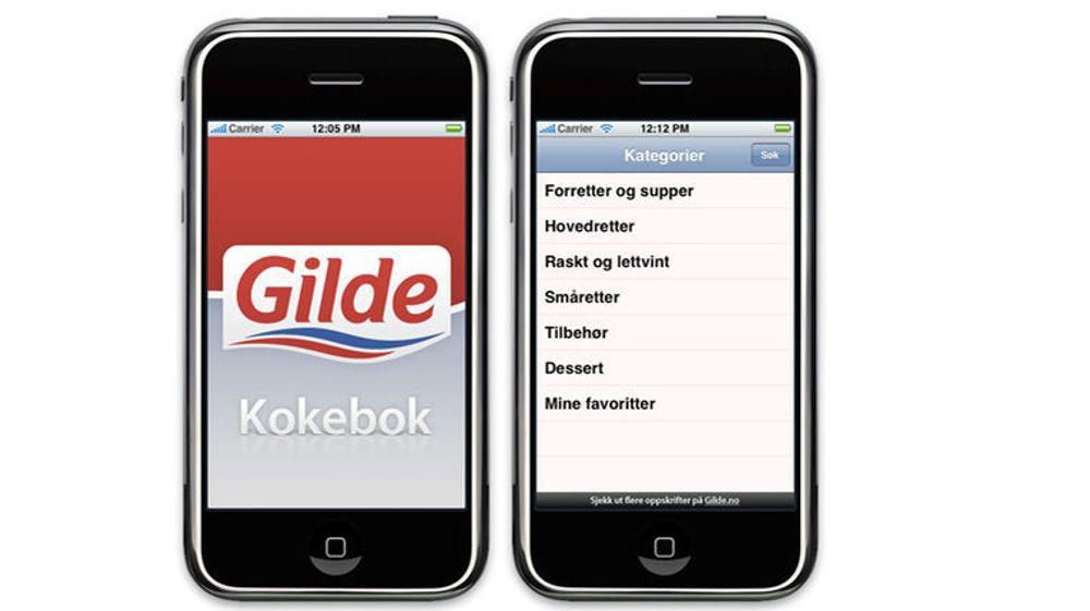 Applikasjonen inneholder over 350 oppskrifter fra Gilde-kjøkkenets store samling