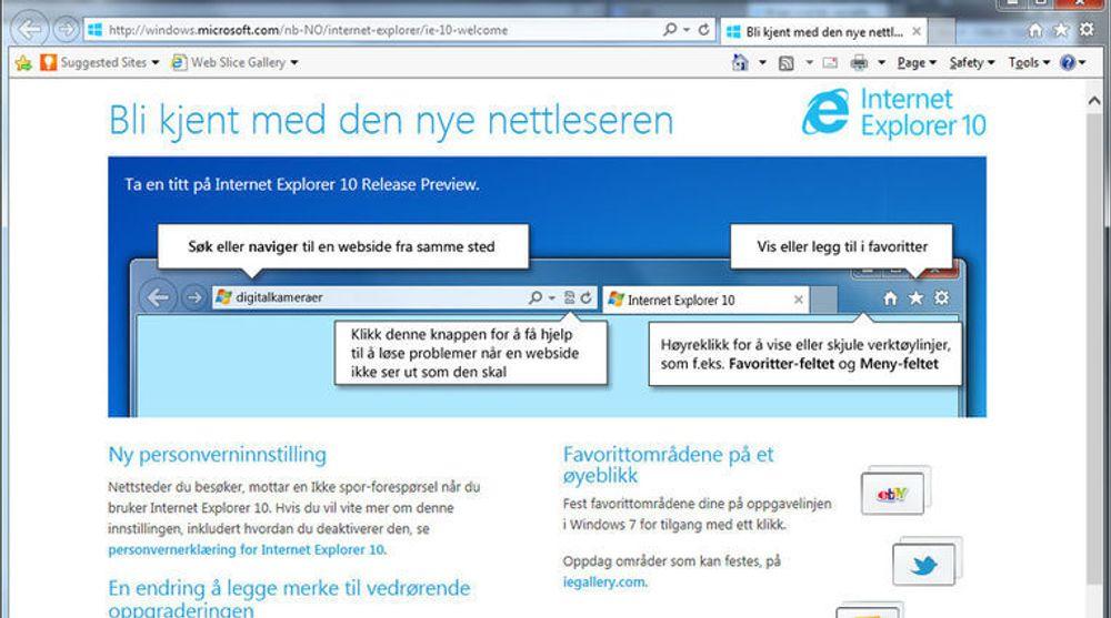 Velkomstskjermen i IE10 Release Preview for Windows 7 forteller om blant annet innstillingen for Do Not Track, eller «Ikke spor», som den kalles på norsk av Microsoft.