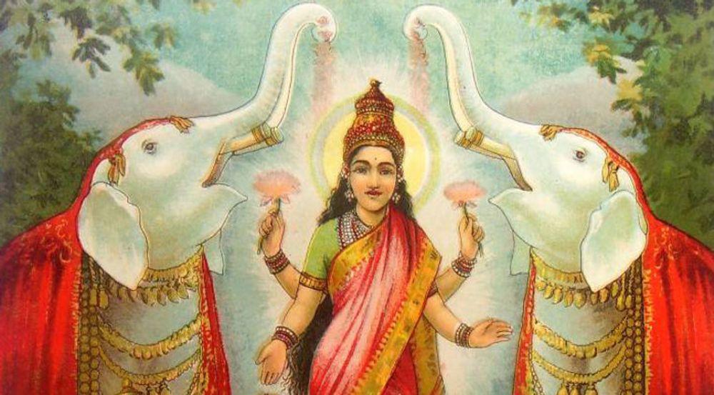 Gudinnen Lakshmi velsigner hjemmet og bringer lykke i året som kommer