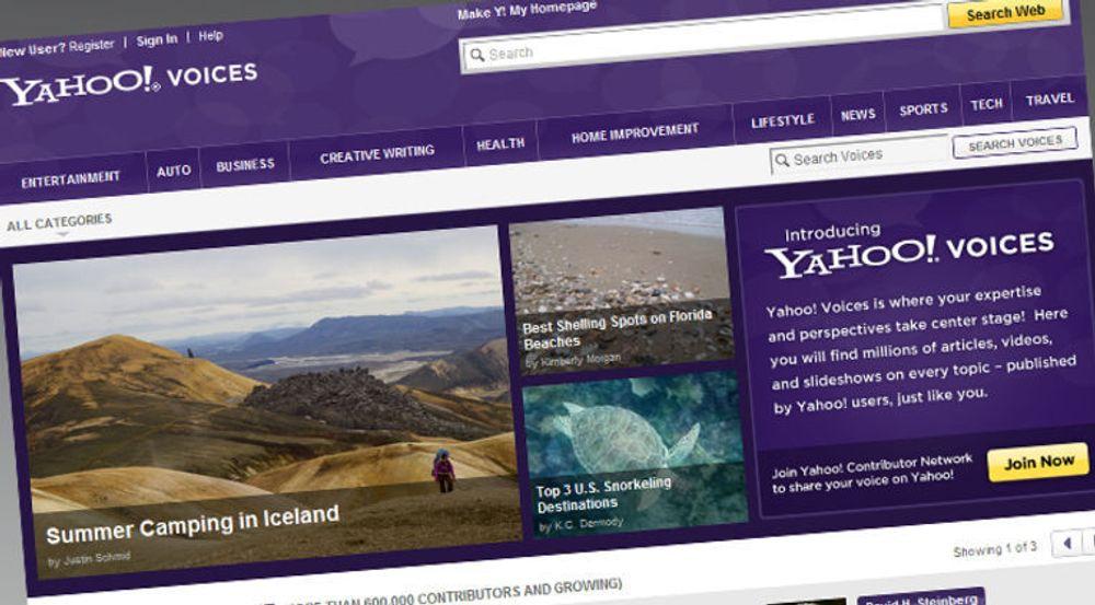 Dagens forside på Yahoo Voices tyder på at Yahoo ikke er spesielt ivrig i å informere åpent om datainnbruddet som la ut e-postadressene til tjenestens brukere.