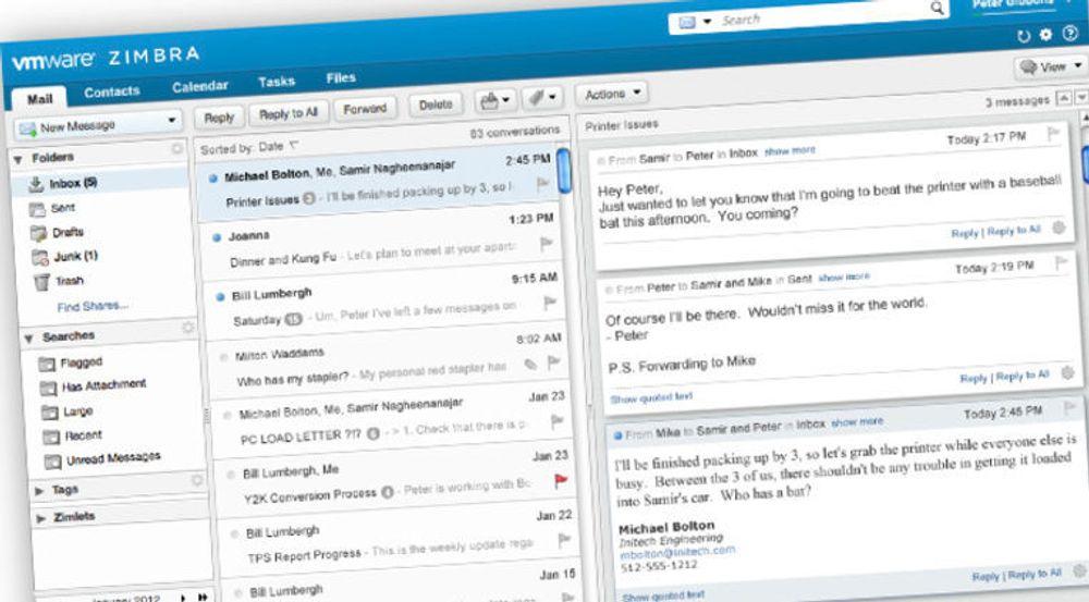 PC-klienten i Zimbra 8 tilbyr utvidet indeksering og søk, slik at man slipper å etablere kompliserte mappestrukturer for å sikre gjenfinning av meldinger. Skjermbildet viser også hvordan man kan vise samtaler fram for en og en melding.