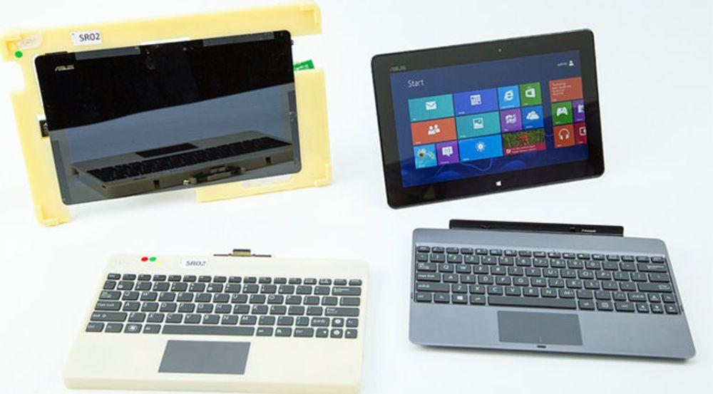 PC eller brett? Ja, takk begge deler. Bildet viser et Windows RT-produkt fra Asus med avtakbart tastatur, både med en tidlig prototyp (t.v) og en mer ferdig variant til høyre.