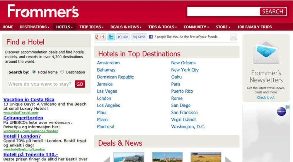 Nettstedet til Frommer's tilbyr omtaler av hoteller og reisemål, samt tips og råd i forbindelse med ulike reiser.
