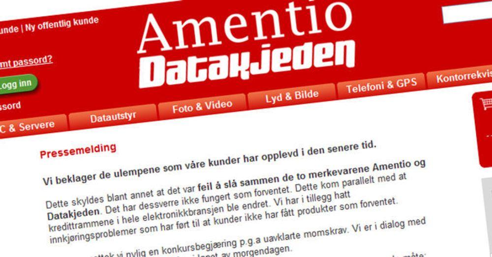 Amentio Datakjeden begjært konkurs