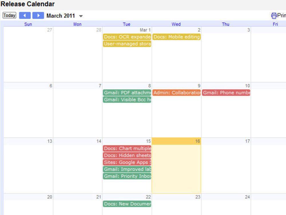 Kalender over ny og kommende funksjonalitet i Google Apps.