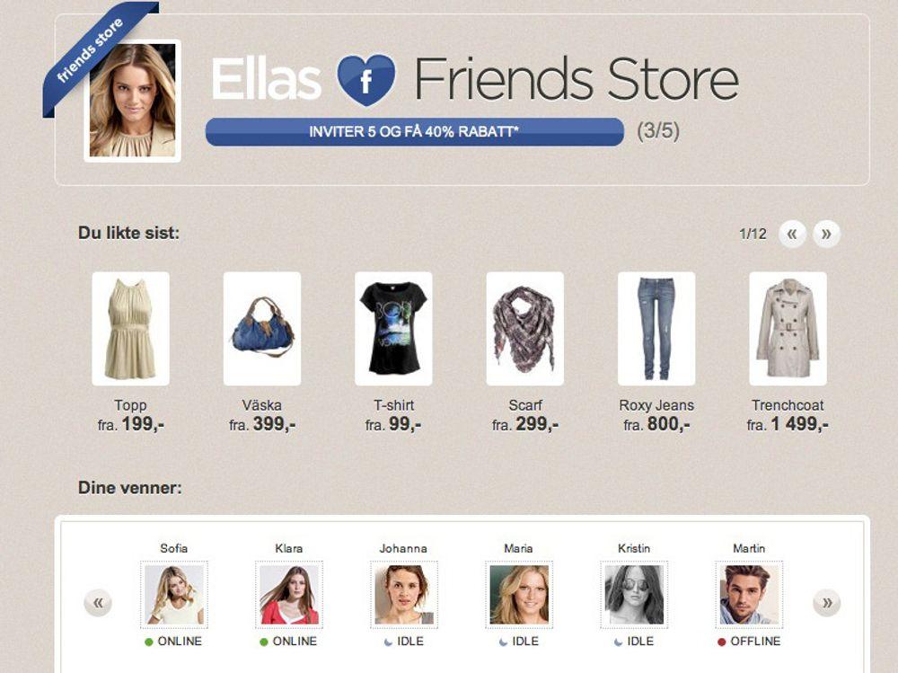 Ella har brukt Ellos-applikasjonen til å opprette sin egen Friends Store, og kan trekke sine venner med på e-handelen.