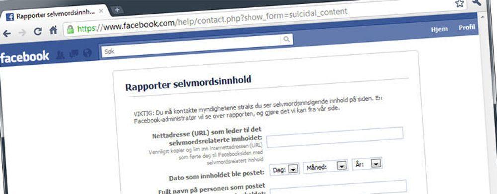 Facebook vil avverge selvmord