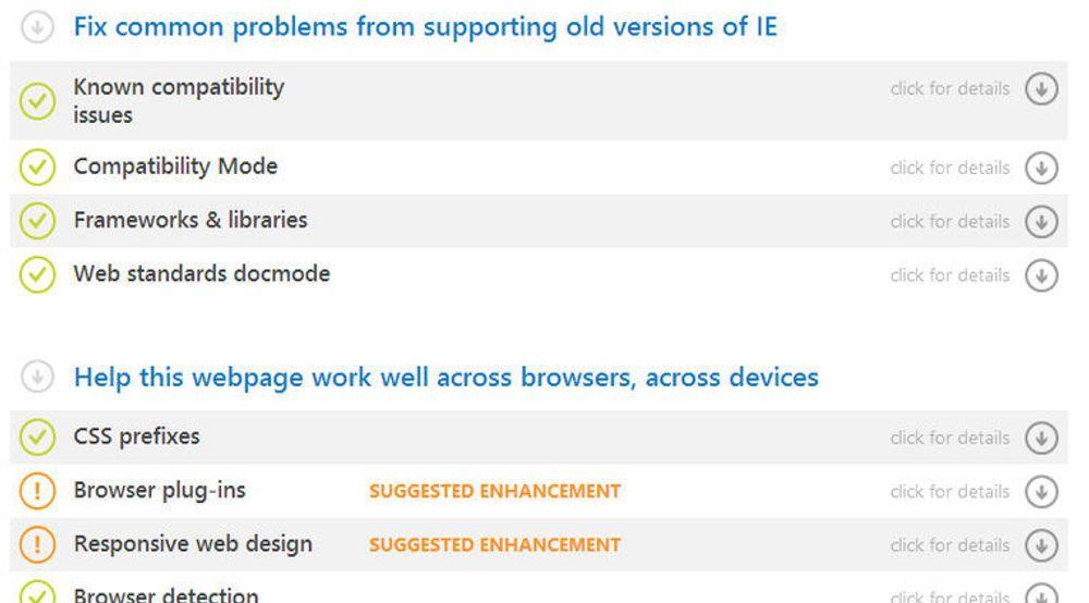 Resultatsiden etter skanning av Facebook.com i testen på modern.IE-nettstedet til Microsoft.