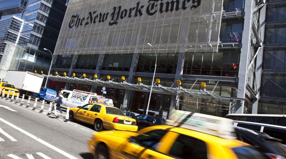 Hackere har de siste fire månedene brutt seg inn i datasystemene til New York Times. Her fra storavisens hovedkvarter på Manhattan.