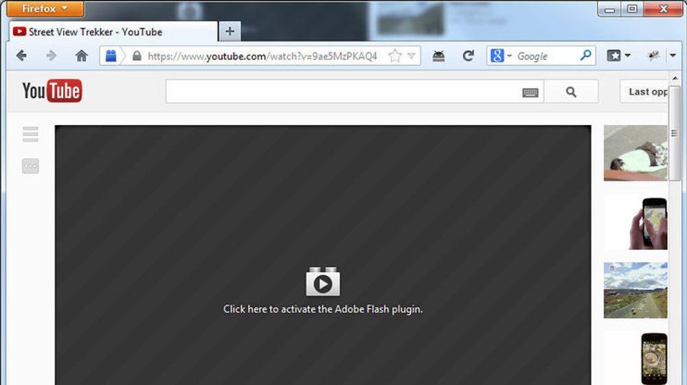 Omtrent slik vil områder med plugin-basert innhold bli seende ut når Mozilla aktiverer Click to Play for fullt i Firefox. Foreløpig er det bare mulig å aktivere dette via de mest avanserte innstillingene, about:config.