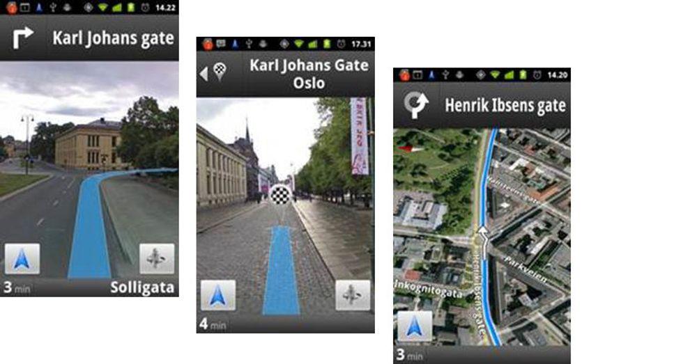 Eksempler på skjermbilder fra en Android-mobil som kjører Google Maps Navigation i Oslo.