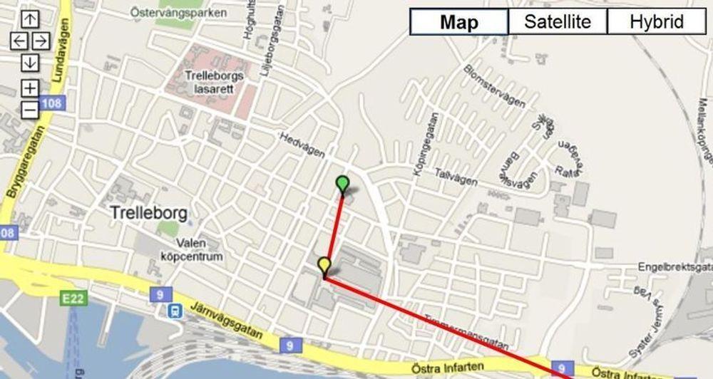 Her har utvikleren av tjenesten, Fredrik Davidsson, vært på farten i Trelleborg, helt sør i Sverige.
