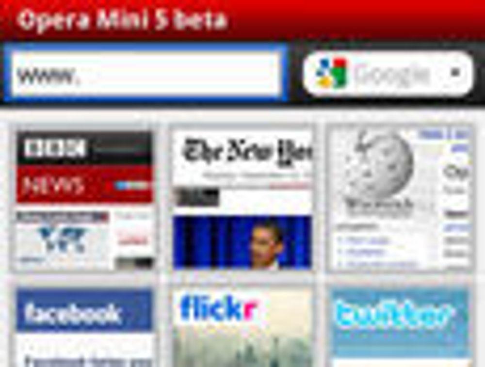 Opera Mini 5 beta - startsiden med Speed Dial.