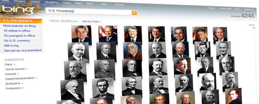 Fem amerikanske presidenter er fortsatt i live. Det er lett å finne hvilke ved hjelp av Bings nye visuelle søk. Merk at nettjenesten krever utvidelsen Silverlight fra Microsoft for å komme til sin rett.