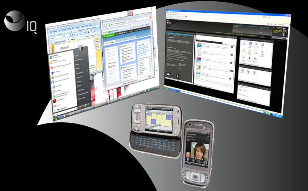 IQopia tilbyr egendefinerte webbaserte arbeidsflater, som fungerer likeverdig uansett om tilgangen skjer gjennom pc eller mobil. På pc kan man velge et Windows-tro grensesnitt (til venstre), eller definere sitt eget. Uansett er alle personlige og bedriftsrelaterte tjenester tilgjengelige.