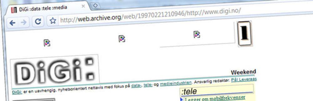 Wayback Machine: Du kan finne så mangt i nettets tidsmaskin. Her digi.no fra 1997, året etter oppstarten.
