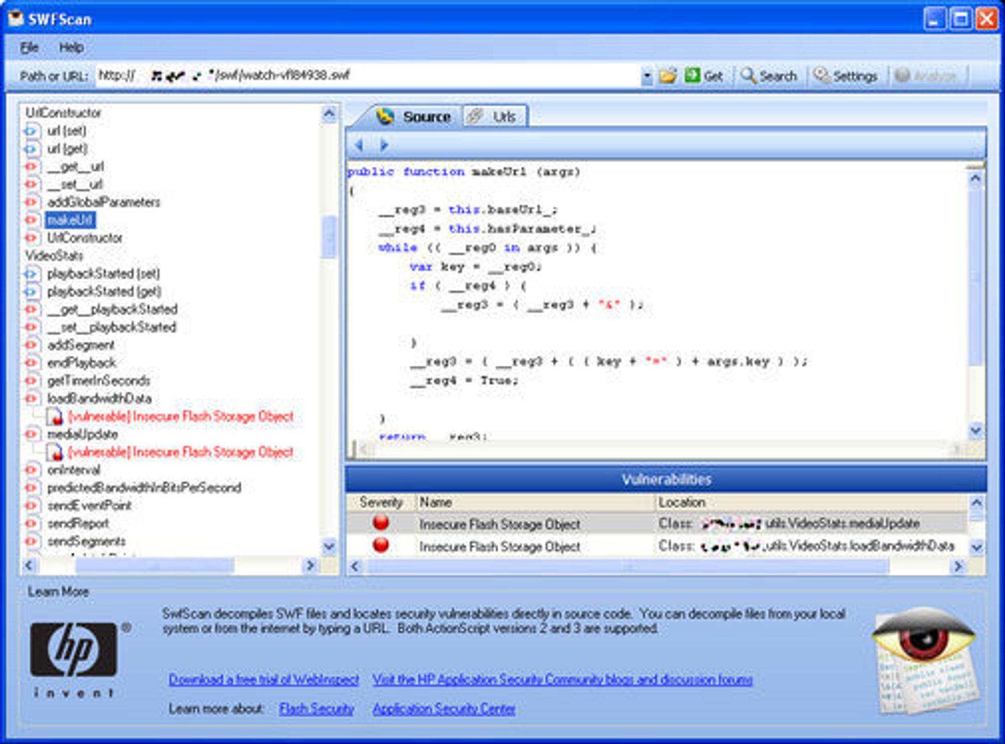 HP SWFScan med resultat fra mye brukt Flash-applikasjon.