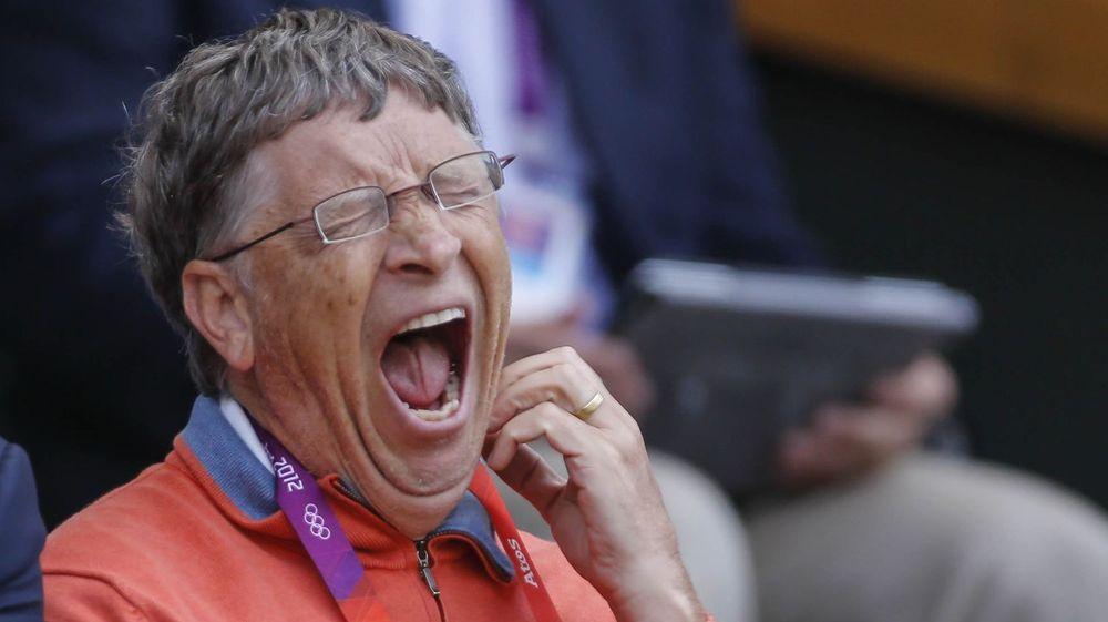Microsoft er inne i en kjedelig utvikling, kan man lese av dette uttrykket til gründer Bill Gates, fanget opp på Wimbledon under London OL i sommer.