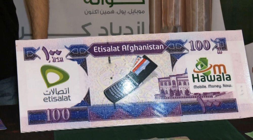 Reklameplakat i Kabul for den mobile betalingsløsningen Hawala fra den lokale mobiloperatøren Etisalat.