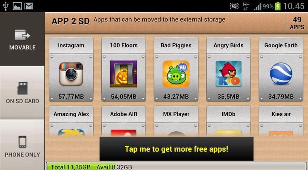 Verktøy som App2SD for Android kan frigjøre plass i den interne lagringsplassen til enheter med støtte for eksternt SD-kort ved å flytte deler av mange applikasjoner over på det eksterne kortet. Men dette er ikke alltid problemfritt.
